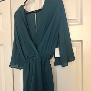 New Charlotte Russe Green Chiffon Wrap Romper S